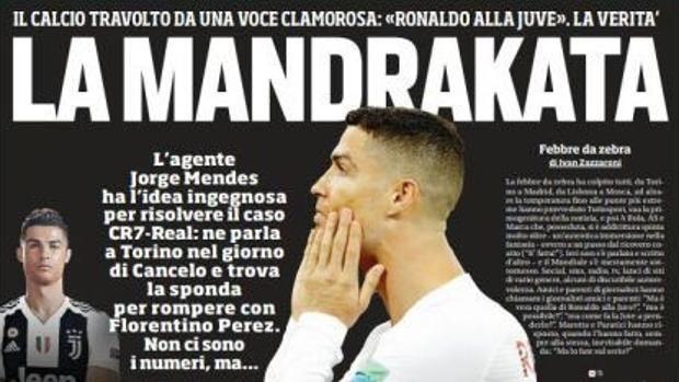Portada del diario italiano «Corriere dello Sport»