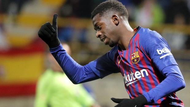 Dembelé, en un partido con el Barcelona