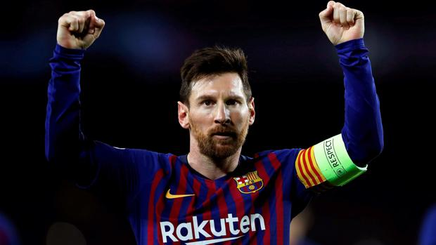 Messi celebra su segundo tanto frente al Lyon