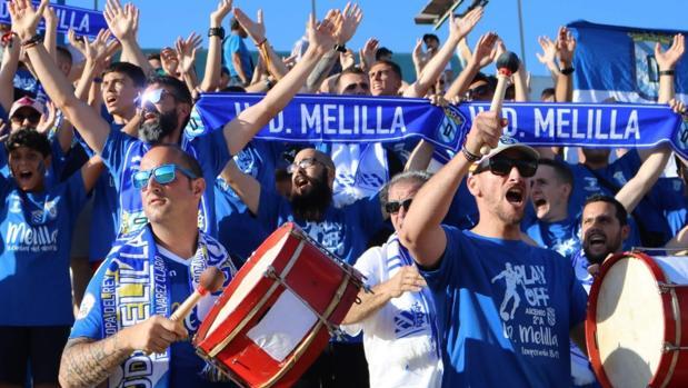 La afición de la UD Melilla