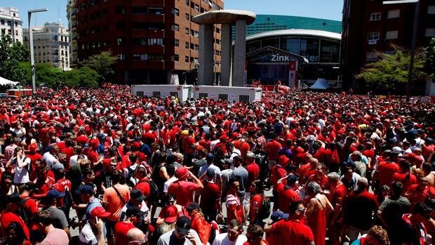 Aficionados del Liverpool en Madrid