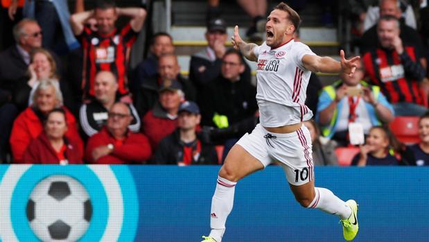 Billy Sharp, delantero del Sheffield UNited, celebra el gol ante el Bournemouth