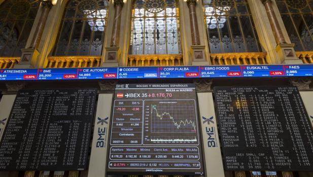 Panel informativo de la Bolsa española que muestra el principal selectivo español, el Ibex