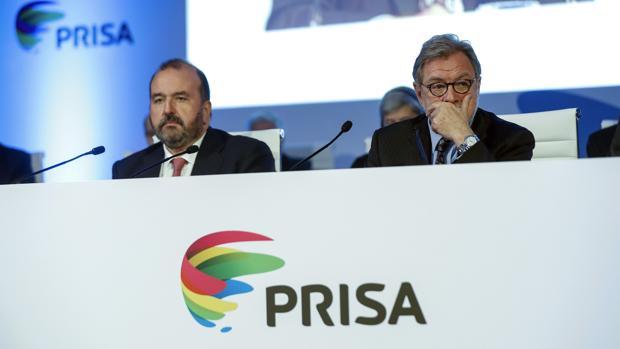 El presidente y el consejero delegado de Prisa, Juan Luis Cebrián y José Luis Sainz, respectivamente