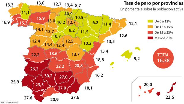 Mapa De Provincias Españolas.El Mapa Del Paro En Espana Las Peores Y Mejores Provincias