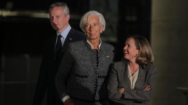 El ministro francés de Economía, Bruno Le Maire, la directora gerente del FMI, Christine Lagarde y la ministra de Economía, Nadia Calviño