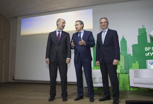 Domínguez Abascal, Rodríguez Zapatero y Luis Aires, esta mañana