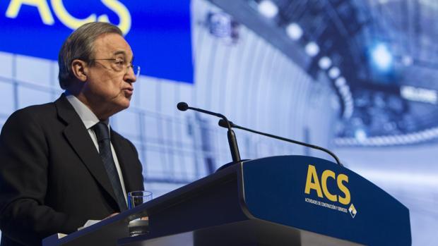 El presidente de ACS, Florentino Pérez, durante una junta de accionistas en 2017