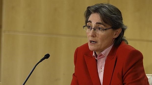 La teniente de alcalde, Marta Higueras, durante la rueda de prensa para informar de la situación de la contaminación en Madrid este jueves