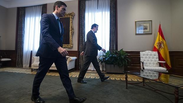 Pedro Sánchez y Mariano Rajoy, el pasado 12 de febrero