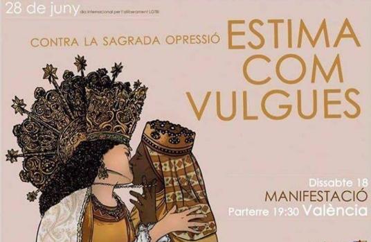 Imagen del cartel de la convocatoria con los dibujos de la Virgen de los Desamparados y la de Montserrat