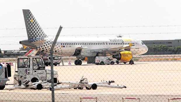 Un avión de la compañía, en tierra