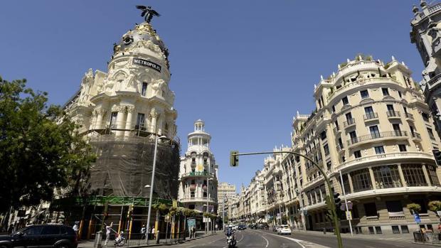 Calles de Gran Vía y Alcalá, en el centro de Madrid