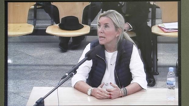 Imagen tomada de un monitor de la sala de prensa de la Audiencia Nacional de Isabel Jordán