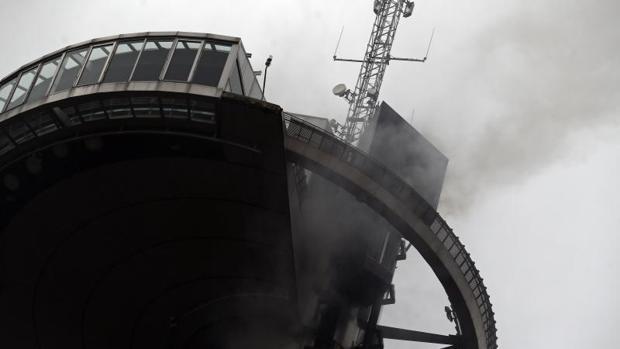 El ascensor del Faro de Moncloa, en la jornada del incendio