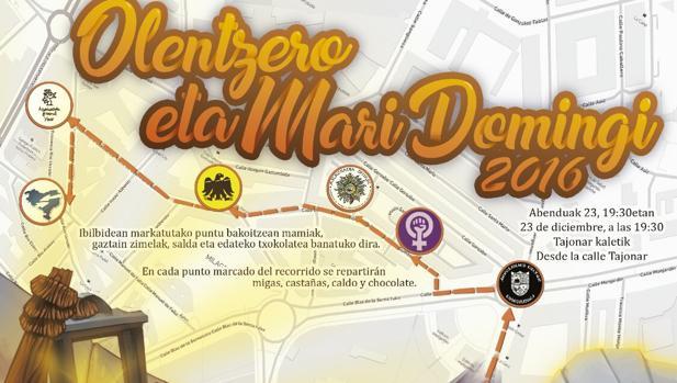 Cartel del reparto de regalos el día de Nochebuena en Olentzero