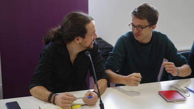 Pablo Iglesias e Íñigo Errejón, deste sábado en la reunión del Consejo Ciudadano de Podemos