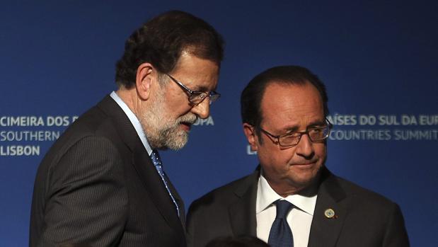 Mariano Rajoy y François Hollande, en Lisboa