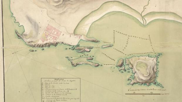 Mapa del Puerto de Mogador, lo que hoy es Essaouira, en 1767