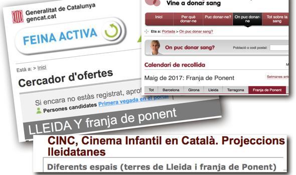 Parte de Aragón, identificada como «Franja de Ponent» catalana en varias secciones de la web de la Generalitat