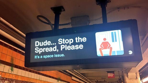 Anuncio en el Metro de Nueva York , contra el «despatarre»