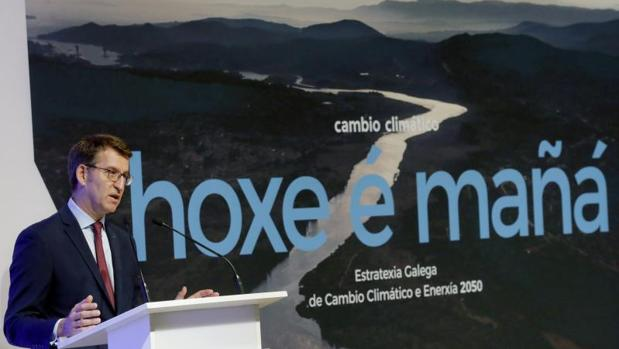 Alberto Núñez Feijóo durante la presentación del plan