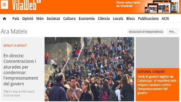 Captura de pantalla del diario «Vilaweb» con la referencia al editorial conjunto