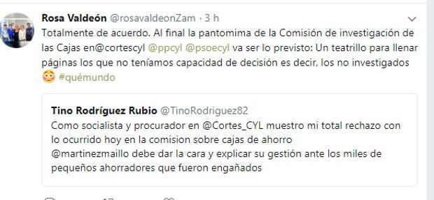 Tuit de Rosa Valdeón refiriéndose a la comisión de investigación sobre las cajas de ahorro en las Cortes