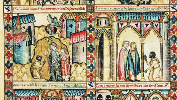 La Vírgen libera a un moro en Consuegra «Las Cantigas» de Alfonso X El Sabio