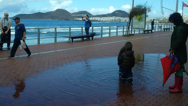 Escolares jugando con un charco de agua en la Playa de Las Canteras
