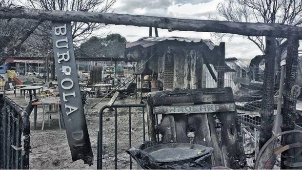 La parcela, completamente quemada, tras el devastador incendio del domingo