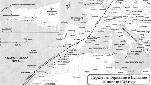 Ruta que habría seguido Hitler tras salir de Berlín de acuerdo con los informes soviéticos