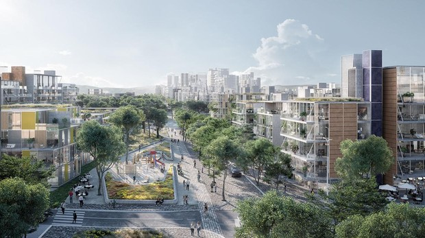 Recreación de uno de los barrios residenciales de Madrid Nuevo Norte