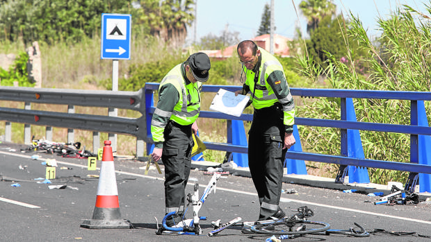 Imagen de archivo de un accidente mortal ciclista en carreteras valencianas
