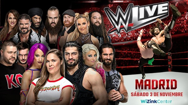 Cartel promocional de los combates de la WWE en Madrid