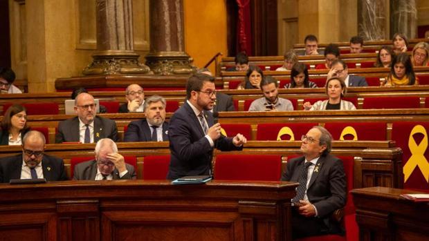 Pere Aragonès, hoy, durante su intervención en el rifirrafe con Carlos Carrizosa