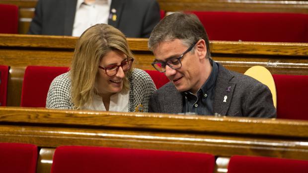 Elsa Artadi y Josep Maria Jové, en una imagen reciente en el Parlamento catalán