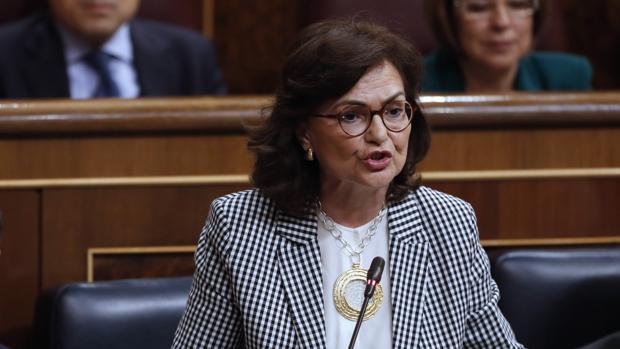 La vicepresidenta del Gobierno, Carmen Calvo, durante su intervención en el Congreso