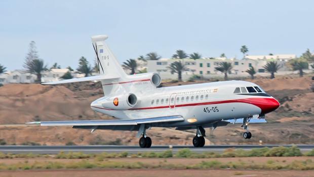 Falcon 900 del Ejército del Aire aterrizando el 29 de diciembre en Lanzarote con Pedro Sánchez