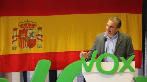 Javier Ortega Smith, durante el acto de su partido en Cuenca