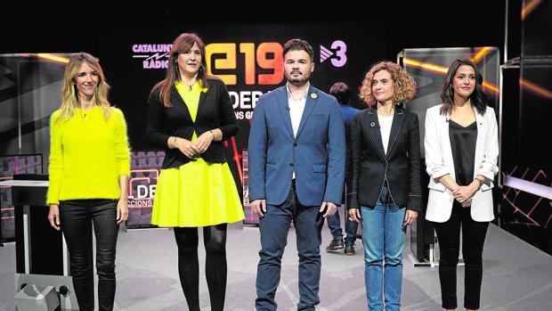 Los candidatos por Barcelona, en uno de los debates de esta pasada semana