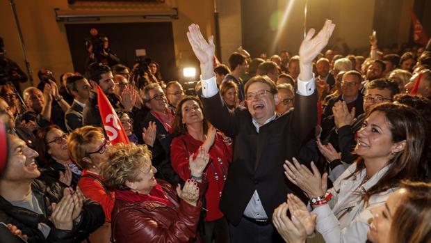 Celebración de Puig con el PSPV-PSOE de los resultados de las elecciones autonómicas valencianas 2019
