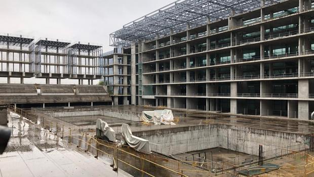Una imagen del actual estado de las instalaciones de lo que iba a ser el centro acuático de Madrid 2020