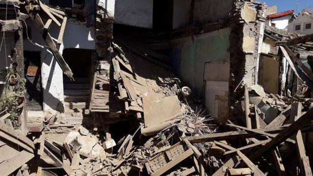 Imagen del estado en el que quedó el interior del inmueble tras el derrumbe