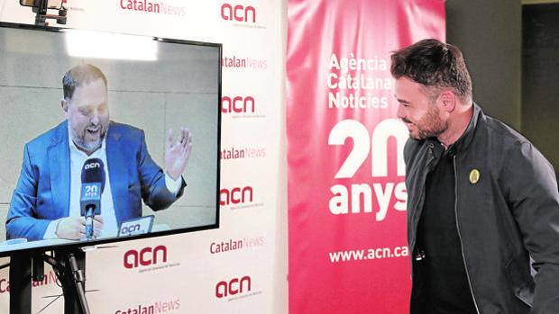 Oriol Junqueras en una rueda de presna que ofreció desde Soto del Real