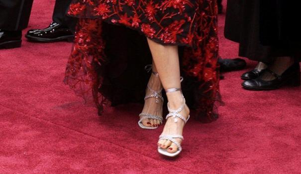 Imagen de las sandalias que lució Laura Elena Harring
