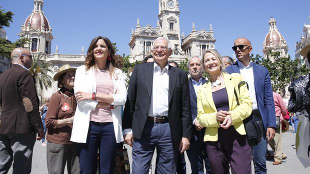 Josep Borrell, este domingo en el mitin celebrado en Valencia