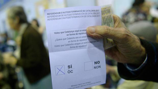 Papeleta del referéndum ilegal del 1-O