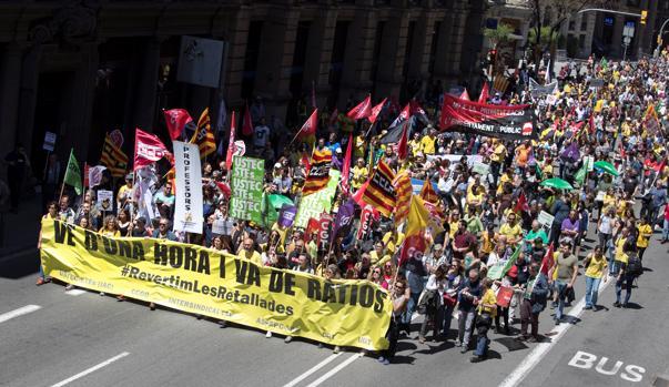 Profesores catalanes protestaron el día 16 de mayo contra el efecto de los recortes