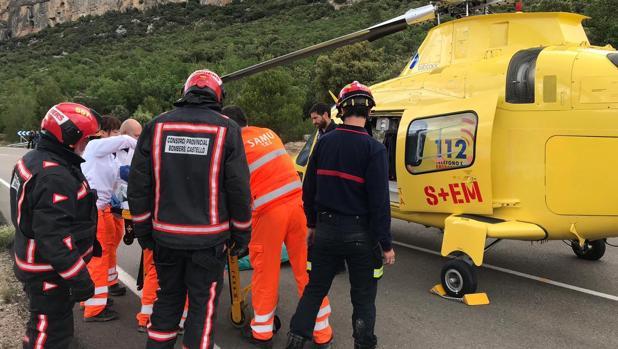 Imagen del rescate del motorista de Forcall